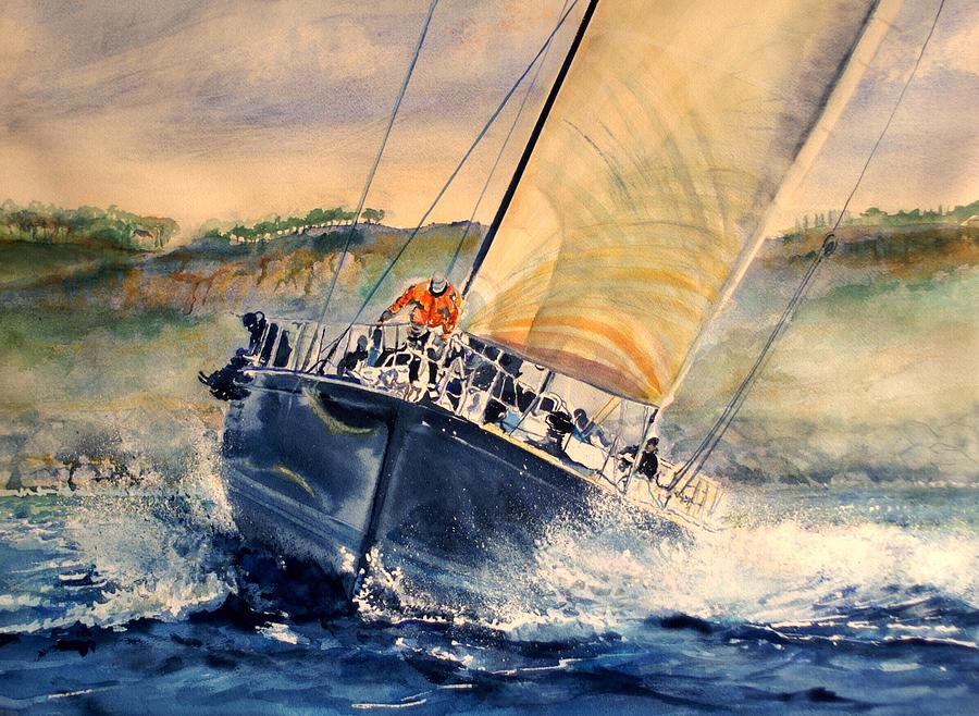 Regatta Boat Painting - Cap To The Boy by Maria Balcells