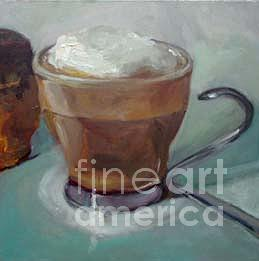Coffee Painting - Cappuccino And Chocolate Babka by Nancy Blum