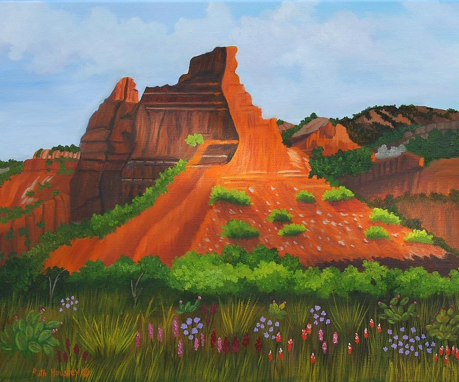 La Ndscape Painting - Caprock Canyon Texas by Ruth  Housley