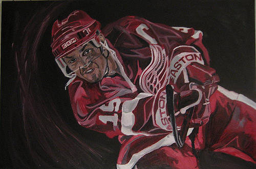 Steve Yzerman Detroit Redwings David Courson Art Sports Oil Painting Captain Painting - Captain by David Courson