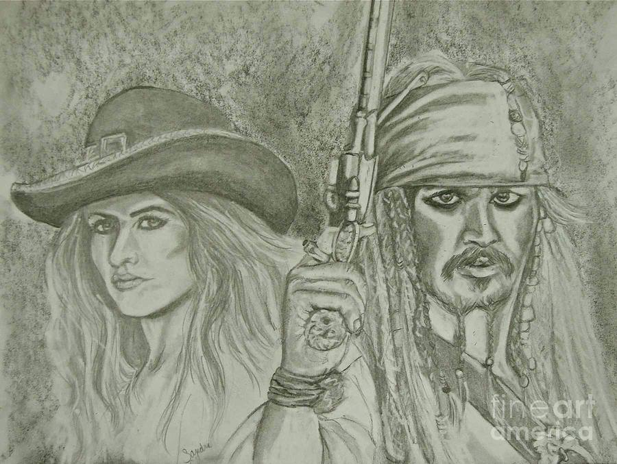 Pirates Drawing - captain Jack Sparrow and Angelica by Sandra Valentini