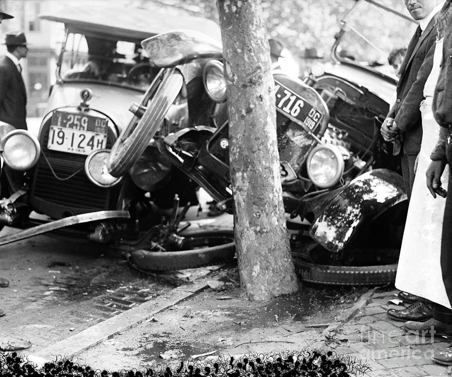 Car Accident, C1919 Photograph