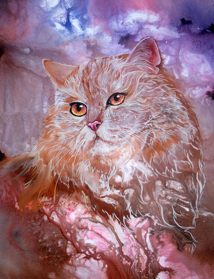 Cat Painting - Caramel Cream by Sherry Shipley