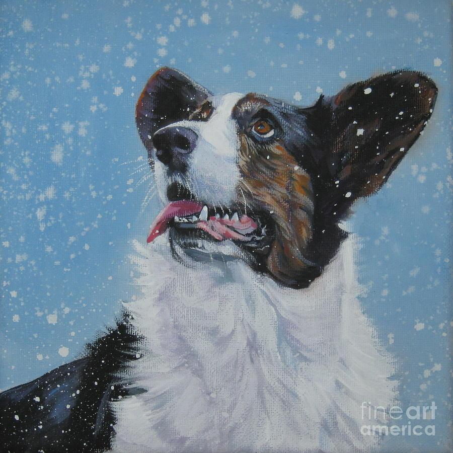 Cardigan Welsh Corgi In Snow Painting