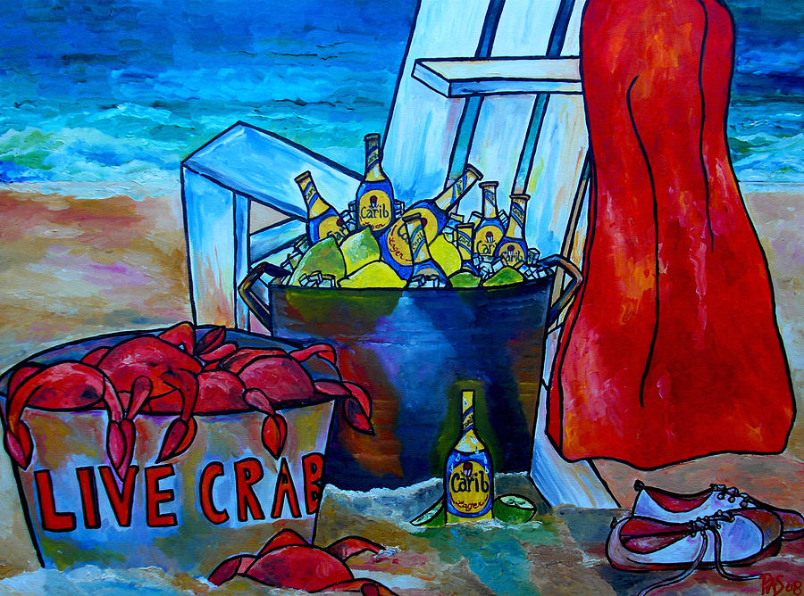 Caribe Beer Painting - Caribe And Crab by Patti Schermerhorn