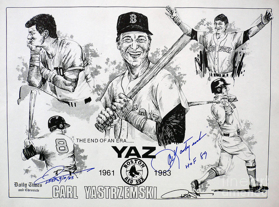 Carl Yastrzemski Retirement Tribute Newspaper Poster Drawing