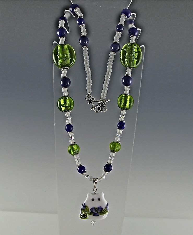 Neckace Glass Art - Carolina Kitty Ms Violet by Cheryl Brumfield Knox