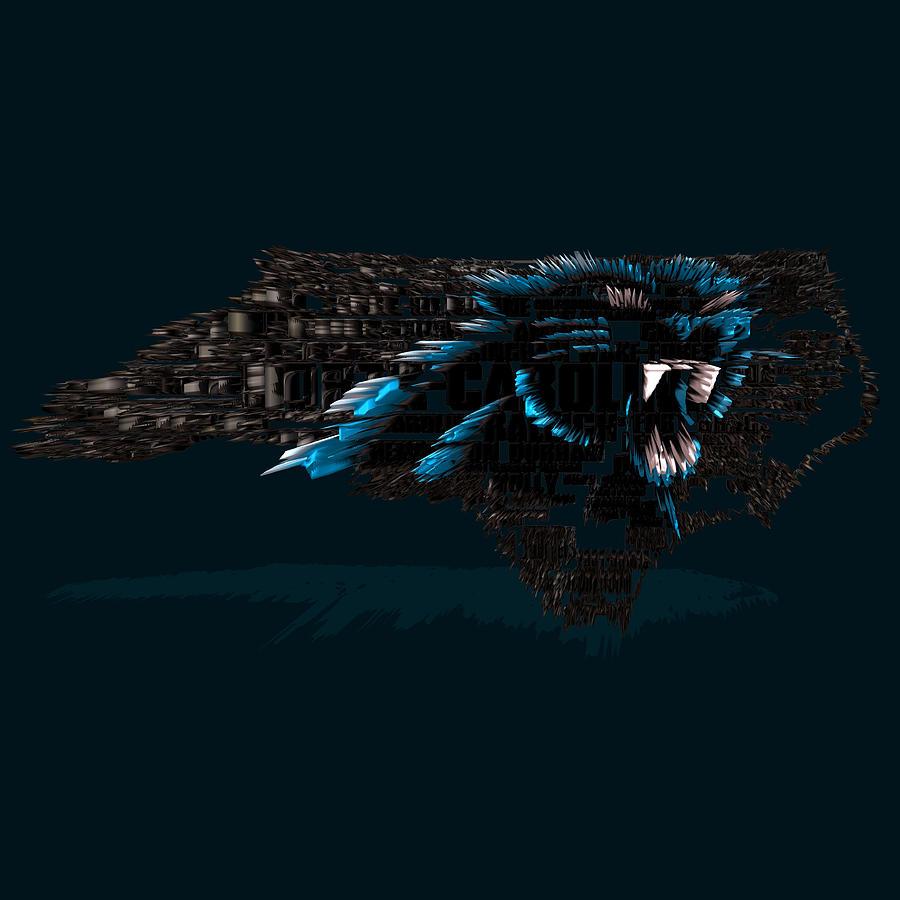Carolina Panthers Digital Art - Carolina Panthers Typographic Map 4b ...