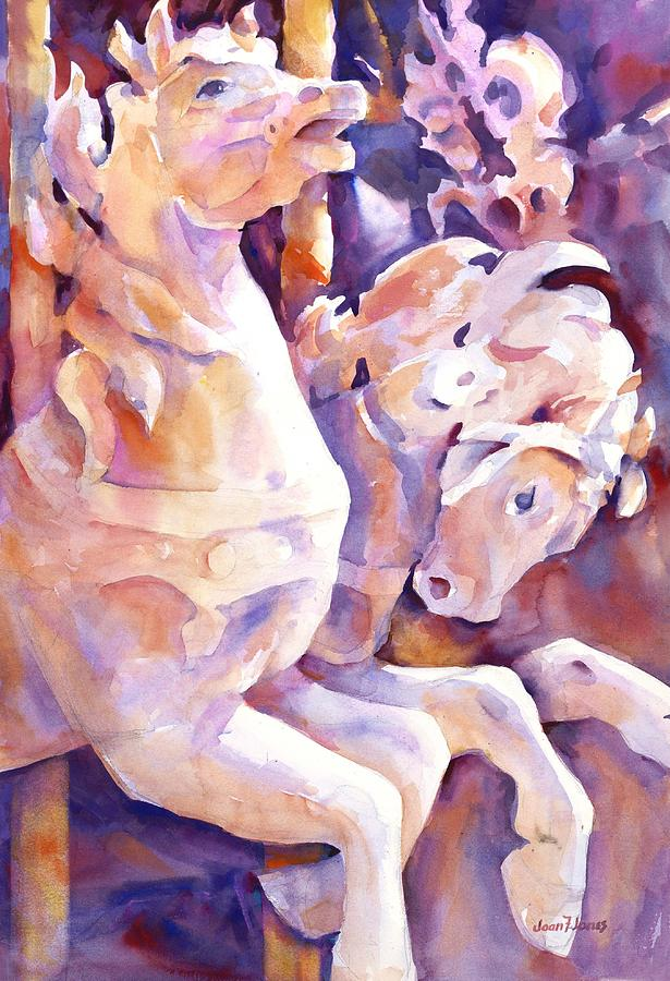 Carousel Horses Painting - Carousel Horses by Joan  Jones