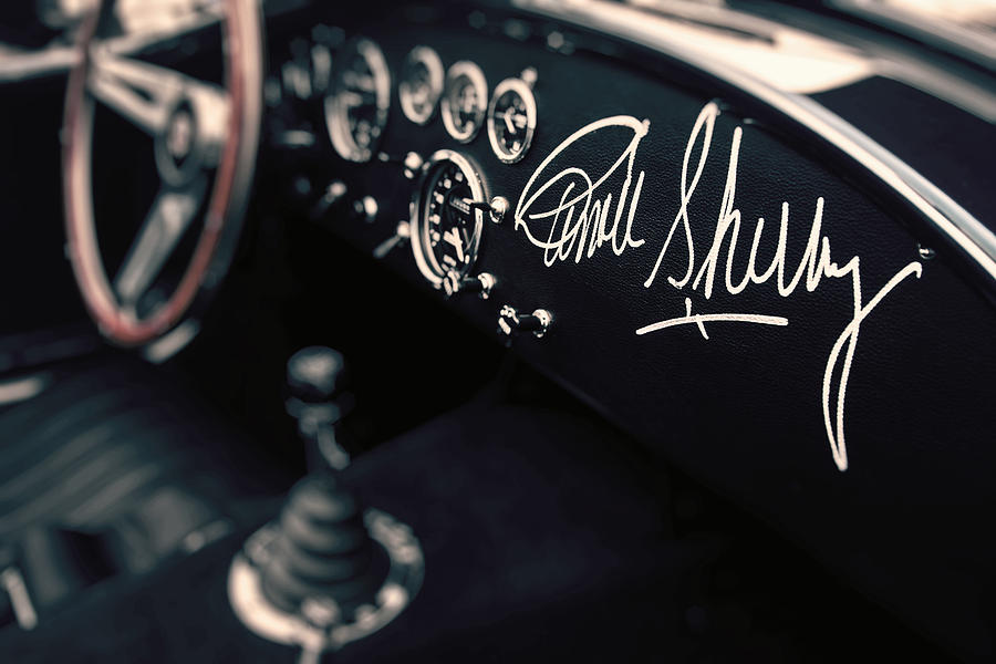 Shelby Photograph - Carroll Shelby Signed Dashboard by Paul Bartell