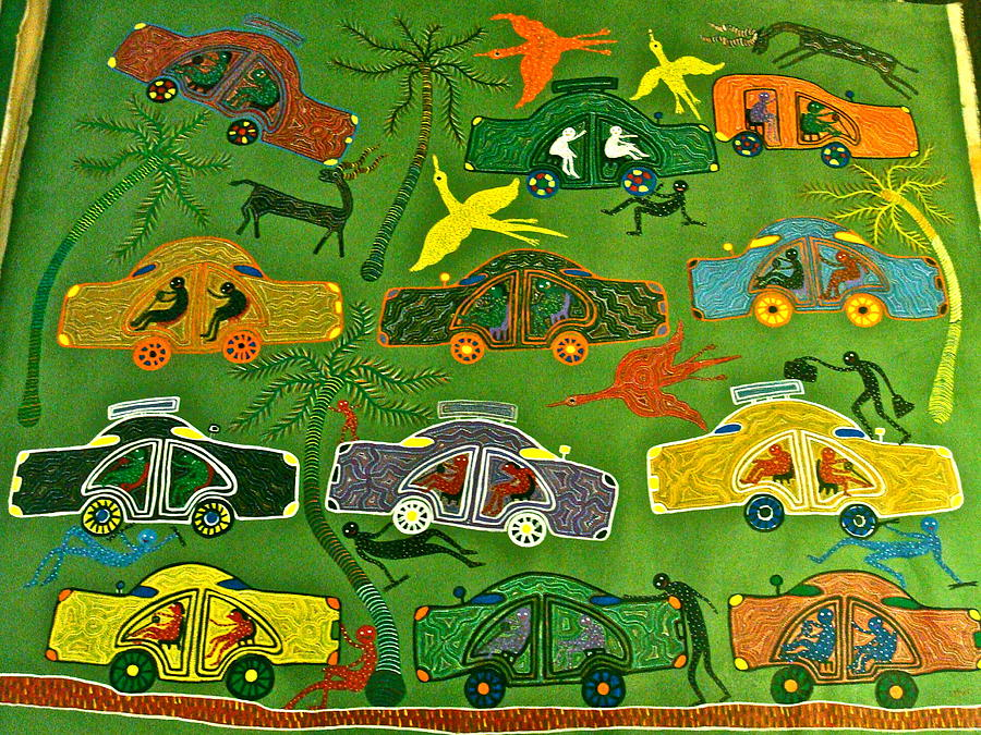 Gond Art Painting - Cars by Bhuri Bai