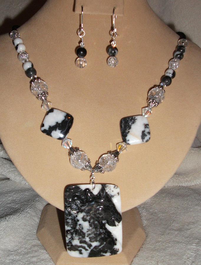 Horses Jewelry - Carved Horse Zebra Agate Set by Kim Souza