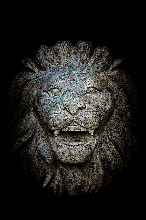 Loriental Photograph - Carved Stone Lions Head by Loriental Photography