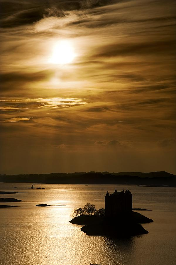 Beauty In Nature Photograph - Castle Stalker At Sunset, Loch Laich by John Short