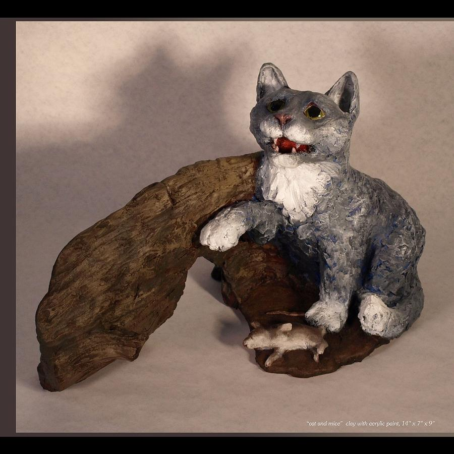 Cat Sculpture - Cat And Mice Main View by Katherine Huck Fernie Howard