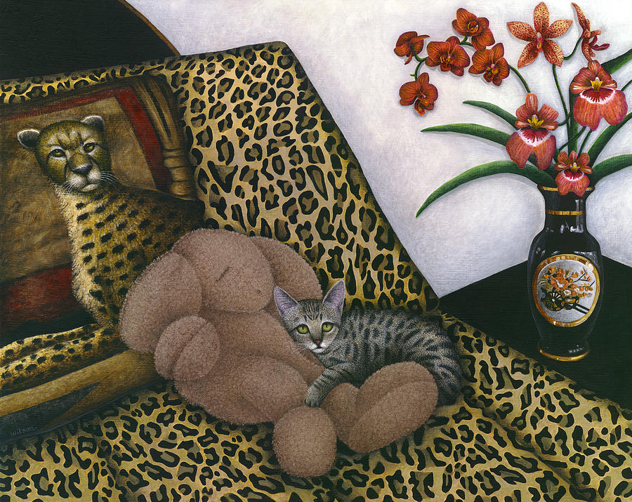 Gray Tabby Cat Painting - Cat Cheetahs Bed by Carol Wilson