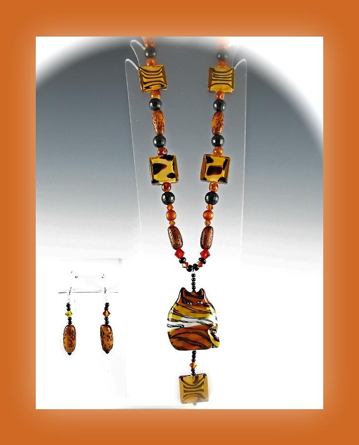 Neckace Glass Art - Cat by Cheryl Brumfield Knox