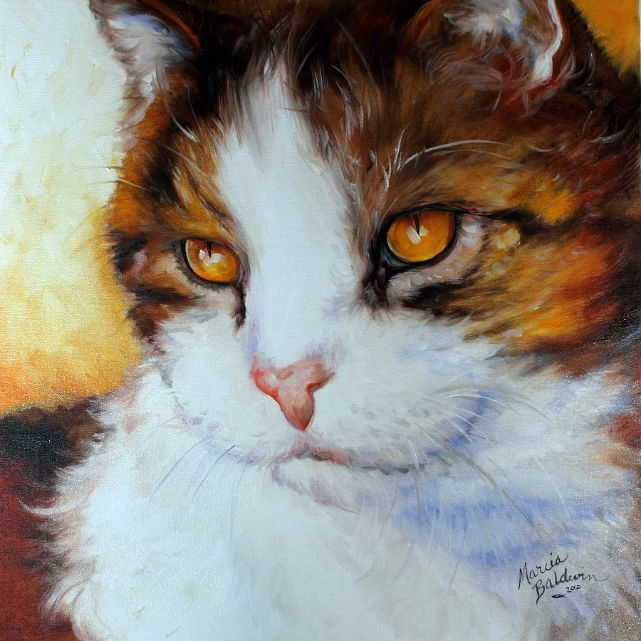 Cat eyes golden painting by marcia baldwin for Cat paintings on canvas