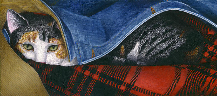 Calico Tabby Cat Painting - Cat In Denim Jacket by Carol Wilson