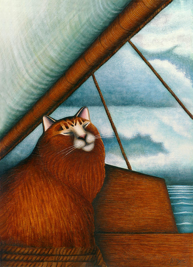 Orange Tabby Cat Painting - Cat On Sailboat by Carol Wilson
