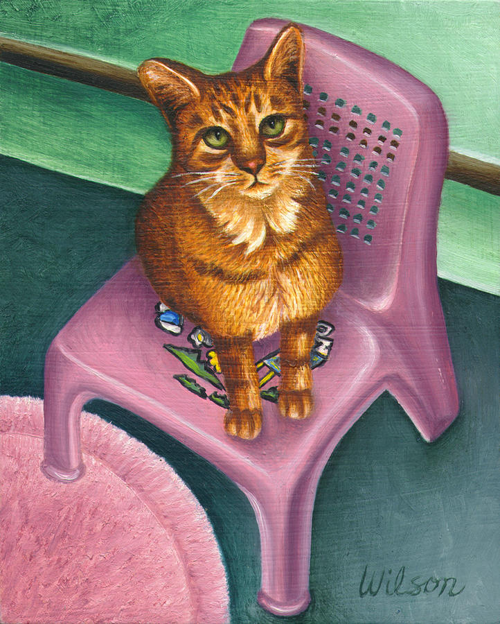 Orange Tabby Cat Painting - Cat Sitting On A Painted Chair by Carol Wilson