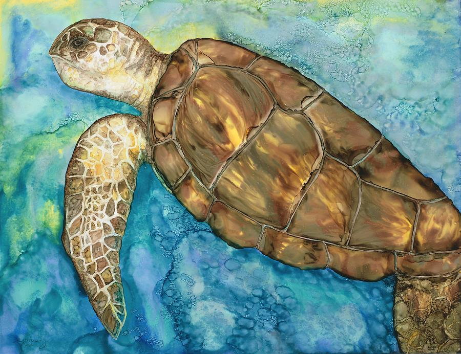 Sea Turtle Painting - Catch A Wave by Lisa  Marsing