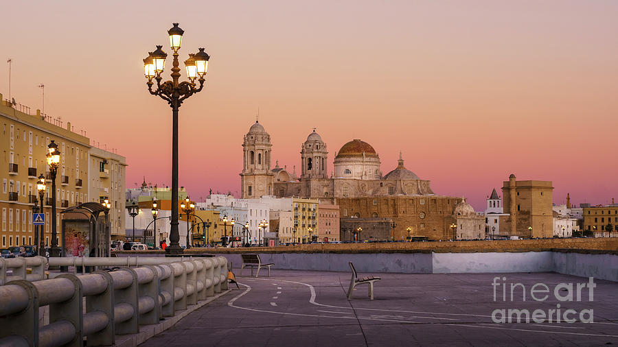Cathedral From Southern Field Cadiz Spain Photograph