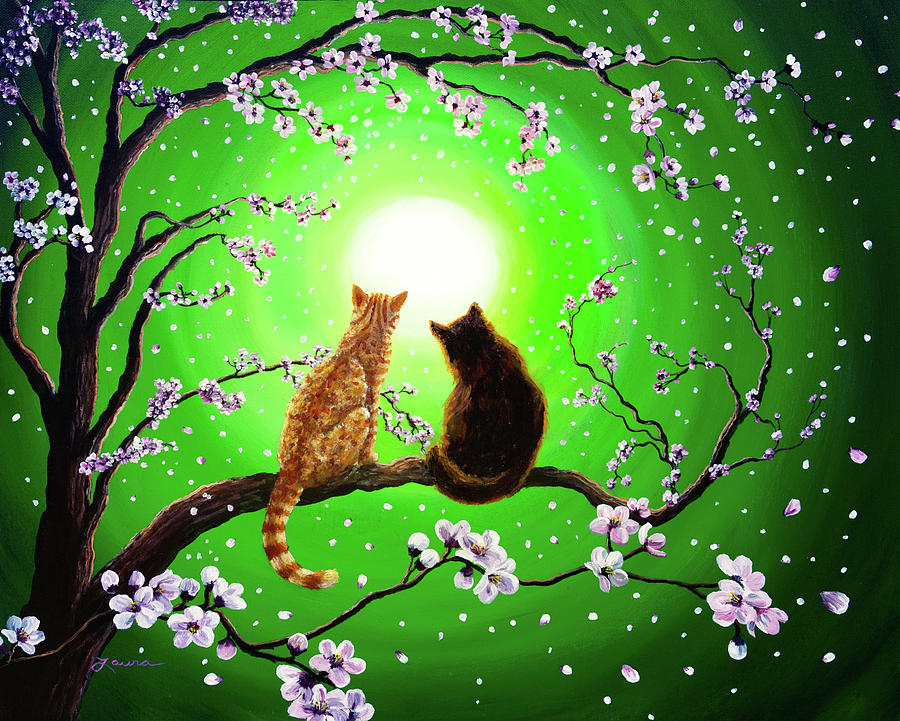 Black Cat Painting - Cats On A Spring Night by Laura Iverson