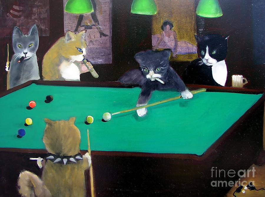 Cats Playing Pool Painting