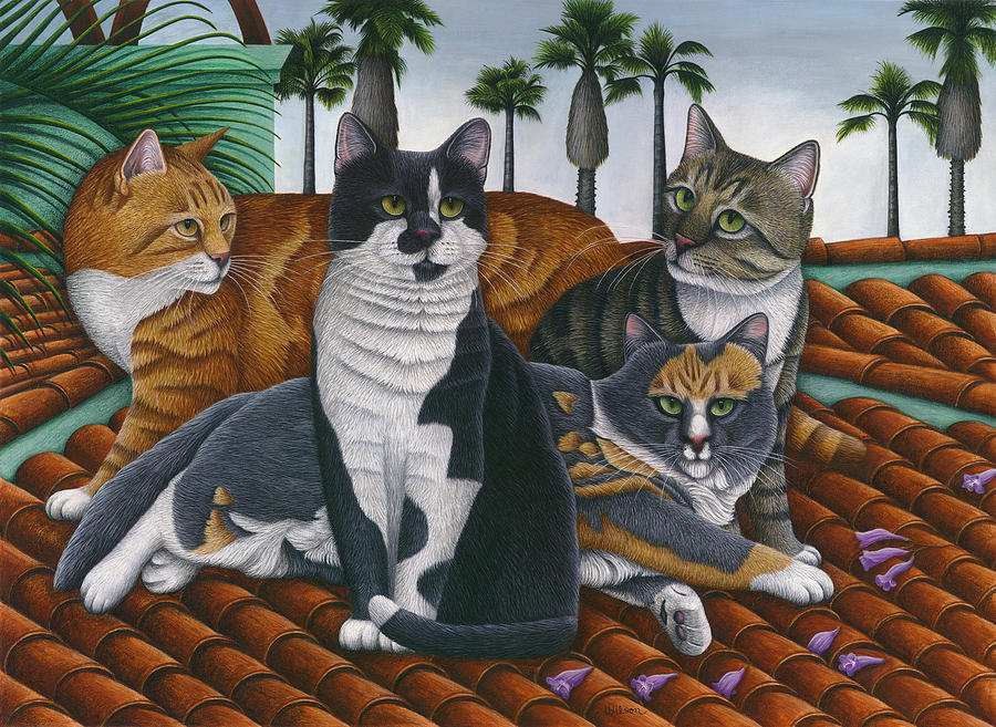 Cats Up On The Roof Painting - Cats Up On The Roof by Carol Wilson