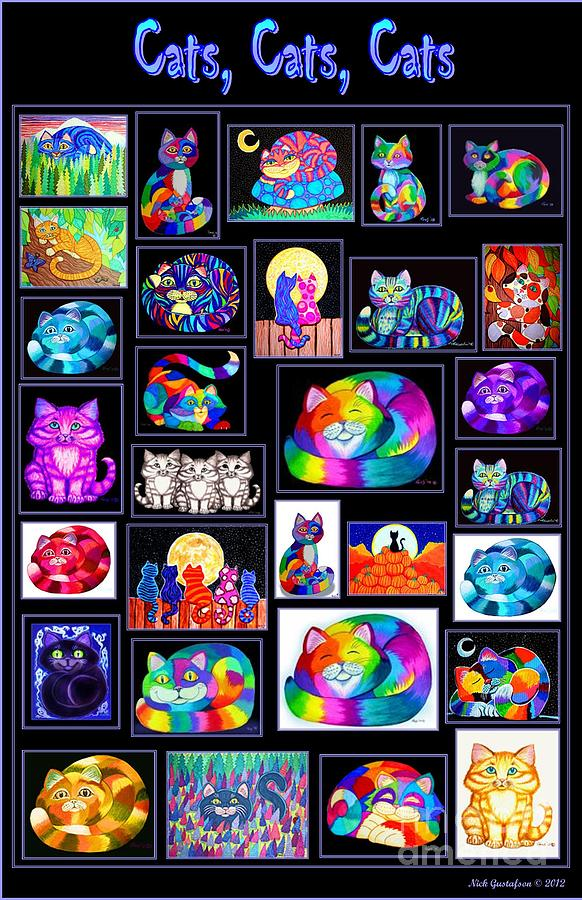 Cats Digital Art - Catscatscats by Nick Gustafson