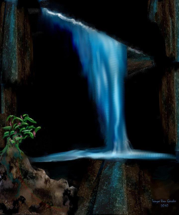 Water Digital Art - Cave Waterfall by Tanya Van Gorder