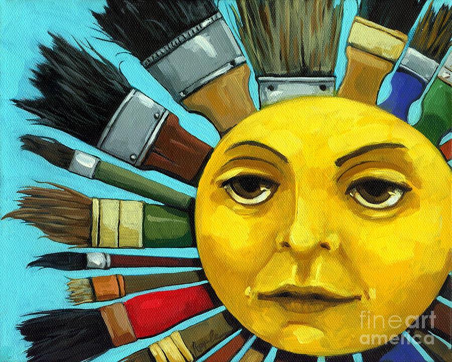 Cbs Sunday Morning Painting - Cbs Sunday Morning Sun Art by Linda Apple