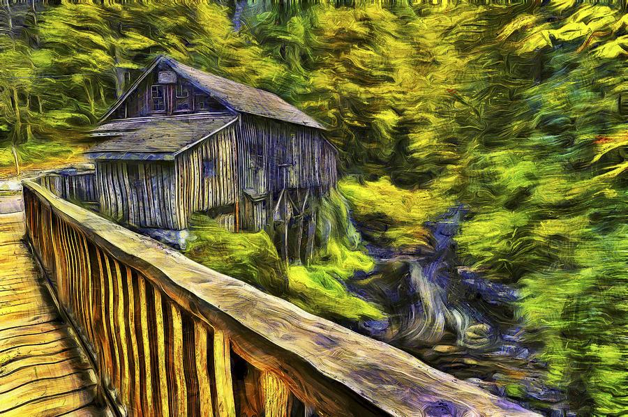 Cedar Creek Grist Mill Van Gogh Photograph By Mark Kiver