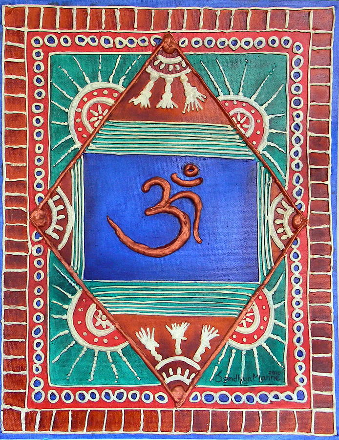 celebrating Om Is A Very Colorful Abstract Om On A Blue Background . The Artwork Is Done On Canvas Board And I Have Used Clay To Do The Embossed Outline.the Entire Back Ground Is Colored In Rich Indian Colors With Copper Highlights...om Is Done With Copper Metallic Painting - Celebrating Om by Sandhya Manne
