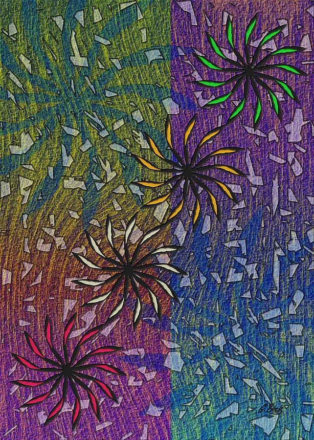 Celebration Abstract Design Art Fireworks Grafetti Gordon Beck Painting - Celebration by Gordon Beck