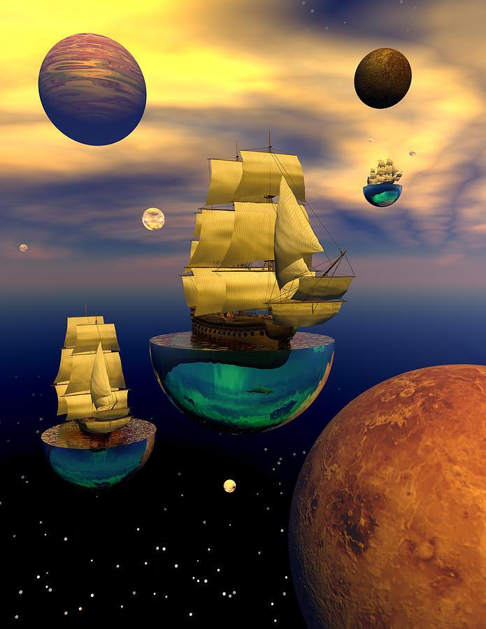 Bryce 3d Scifi Fantasy tall Ship  Windjammer \sailing Ship\ Sailing Digital Art - Celestial Armada by Claude McCoy