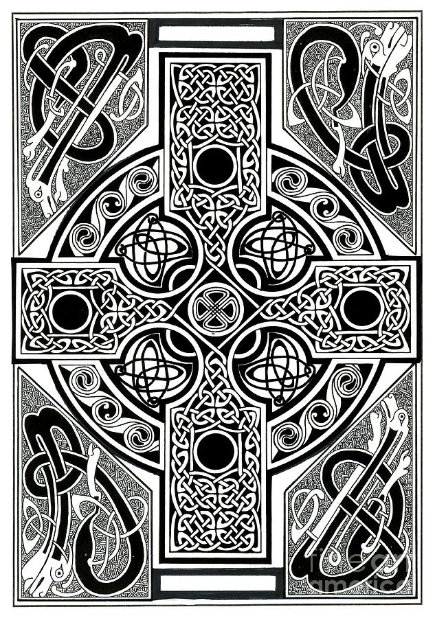 Celtic Painting - Celtic Cross Tapestry by Morgan Fitzsimons