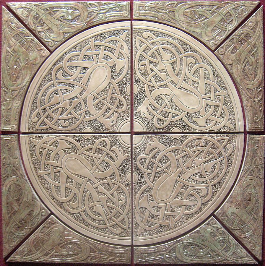 Celtic knotwork ceramic tile set sculpture by shannon gresham