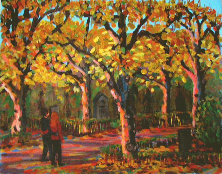 Walk Painting - Cemetary In Autumn by Art Nomad Sandra  Hansen