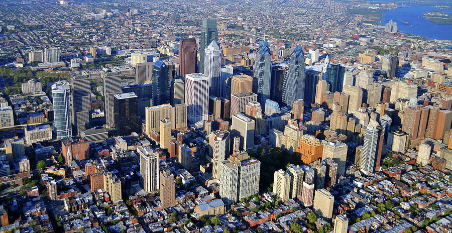 Large Format Aerial Of Philadelphia Photograph - Center City Philadelphia Large Format by Duncan Pearson