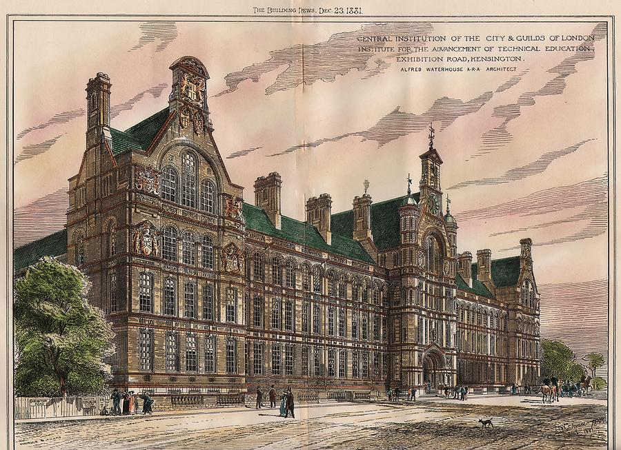 Institute Painting - Central Institution Of The Cityy And Guilds Of London And Technical Education. London. 1881 by Alfred Waterhouse