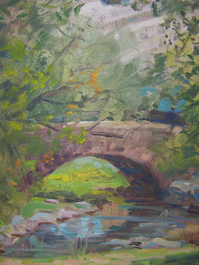 Small Bridge And Pond  In Central Park Ny Painting - Central Park Bridge by Bart DeCeglie