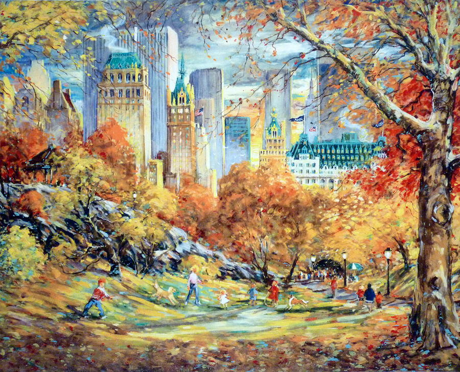 Central Park Mixed Media - Central Park Fall by Kamil Kubik
