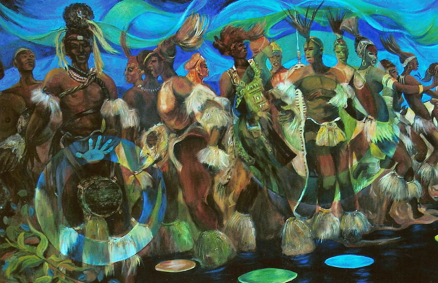 Dance Painting - Ceremonial Dance Of The Mighty Zulus by Lee Ransaw