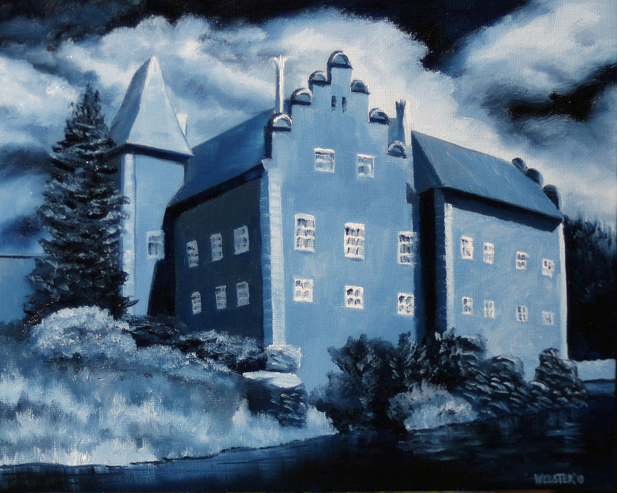 A Painting A Day Painting - Cervena Lhota Castle  Czech Republic  Midnight Oil Series by Mark Webster