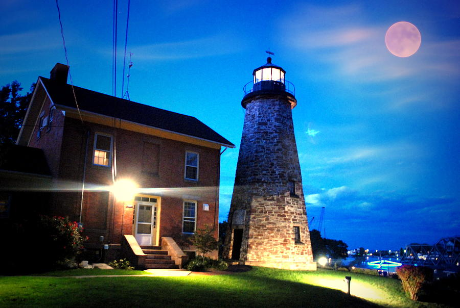 Lighthouse Photograph - Cg Lighthouse By The Moon by Emily Stauring