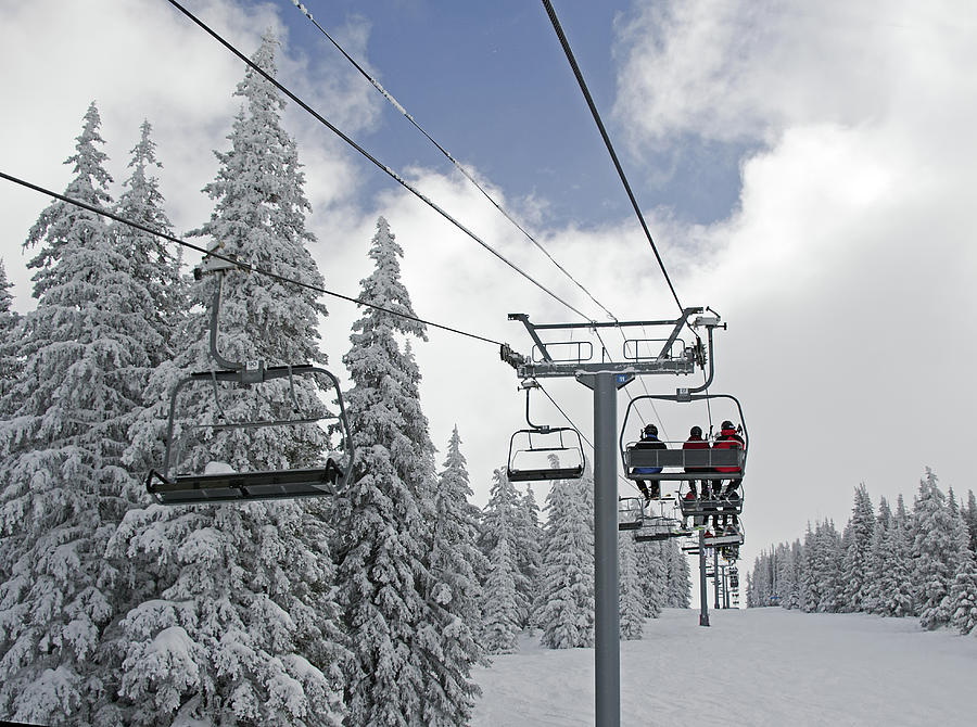 Chairlift Photograph - Chairlift At Vail Resort - Colorado by Brendan Reals