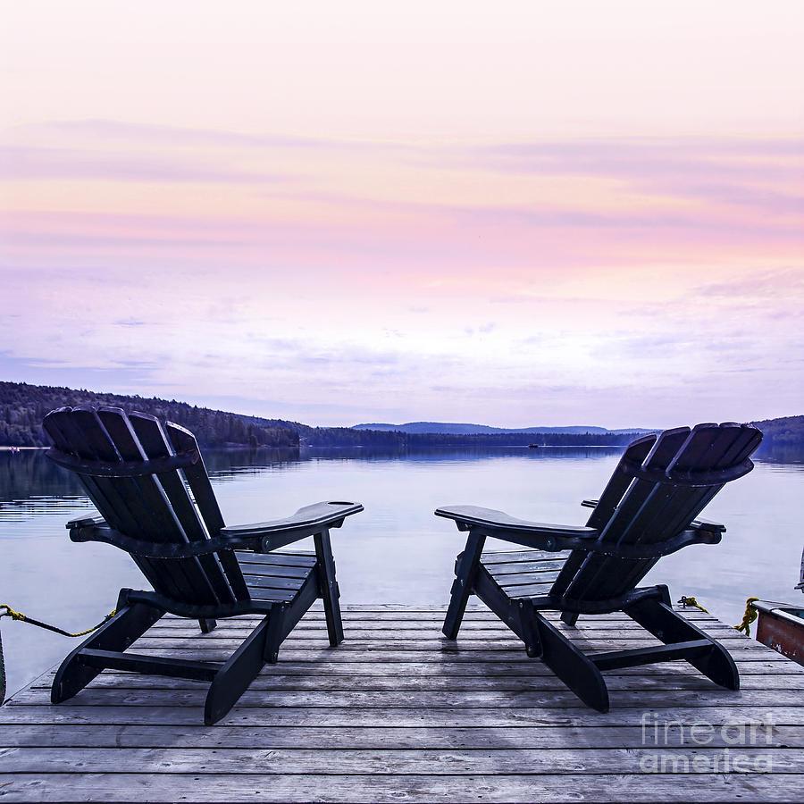 Chairs On Lake Dock Photograph