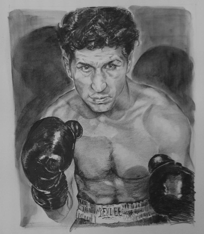 Graphite Drawings Drawing - Champ Joey Giardello by Paul Autodore
